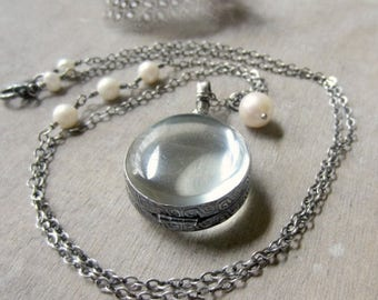 VACATION SALE Round Glass Locket Silver, Photo Locket Necklace, Oxidize Locket Jewelry, Pearl Locket Pendant, Sterling Silver Locket, Expect