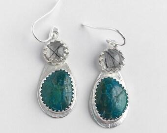 Chrysocolla and Tourmalated Quartz Dangle Earrings - Blue Green Stone Earrings - Leaf Textured Teardrop Earrings with Gemstones