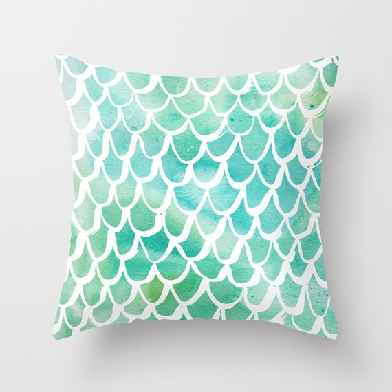 OUTDOOR Throw Pillow - Mermaid Outdoor Pillow - Watercolor Outdoor Pillow - Aqua Patio Cushion - 16 18 20 inch - Turquoise Outside Pillow