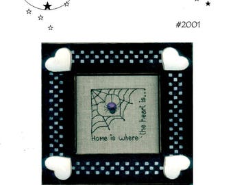 Home Is Where the Heart Is Spider Web with Heart Center Corner Web Embroidery Craft Pattern Leaflet NO SPIDER BUTTON