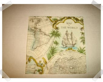 """Paper Napkins for Decoupage- Old Map Design/Single Or Set of 2 OR Set of 4/each- 13"""" Unfolded /Craft Supplies**"""