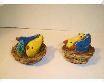 Set of 2 Birds/Nest Ornament*/Made of Felt/ 2 Choices/ Handmade**