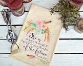 Flour Sack Towel, Feed Sack Towel, Christian Towel, Scripture Dish Towel, Kitchen Towel, Cotton Towel, Mothers Day Gift, Proverbs 31-25