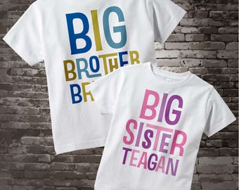 Big Brother Big Sister Shirt SET, Matching SET of 2, Sibling Personalized with Blue Letters for Boys and Pink and Purple for Girls 06212013b