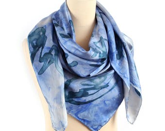 Blue Silk Scarf 90s TIE DYE SHAWL 90s Galaxy Printed Large Hand Painted 1990s Wrap Extra Large 43 inch Wrap Scarf Hand Rolled Edges