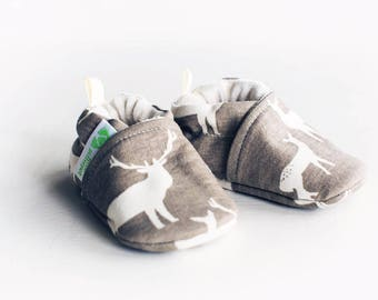 Organic Knits Vegan Elk Grove / All Fabric Soft Sole Baby Shoes / Made to Order