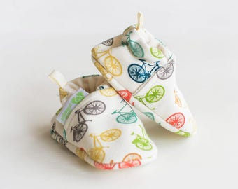 Organic Knits Vegan Fun Bikes / All Fabric Soft Sole Baby Shoes / Made to Order / Babies