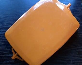 DANSK Kobenstyle enamel lasagna casserole pan - 10 x 13 - burnt orange vintage 70s IHQ Jens Quistgaard