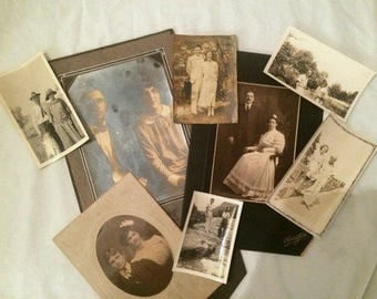 Antique Photos Sweethearts Husbands Wives - Lot 8 - 1800s 1910s 1920s 1930s Black White  Sepia - Vintage