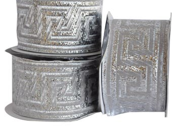 Silver  Satin  Greek Key Jacquard Ribbon  Trim