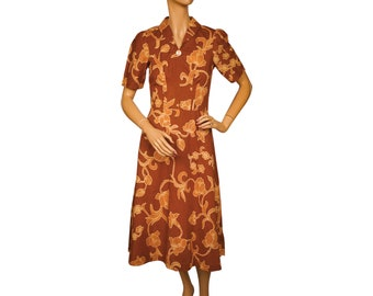Vintage 1970s Does 1930s Printed Cotton Day Dress Size S M