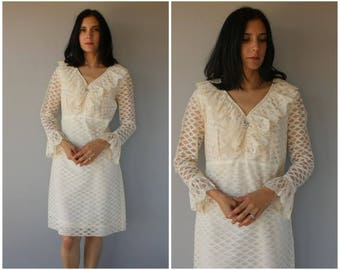 Vintage 1960s Dress   60s Dress   1960s Lace Dress   White Lace 60s Dress   City Hall 1960s Wedding Dress   1960s Party Dress - (large)