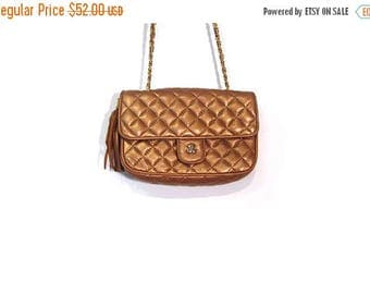 30% OFF Vintage 90s Jay Herbert Coppertone Quilted Leather Gold Chain Tassel Shoulder Purse vestiesteam preppy Beverly Hills indie hipster h