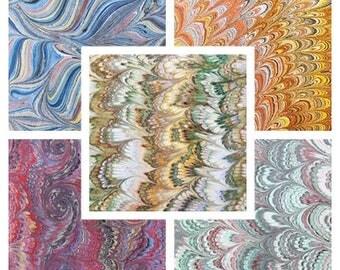 5 marbled paper, bookbinding,  cm 50 x 70, carta marmorizzata a mano- 102