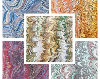 5 marbled paper, bookbinding,  cm 50 x 70, carta marmorizzata a mano- 110
