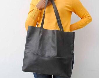 Black tote bag,  black leather shopper bag , real leather tote, shoulder bag, leather bag, leather purse, leather tote bag women bag