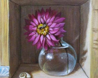 The Dahlia - original painting by Kellie Marian Hill