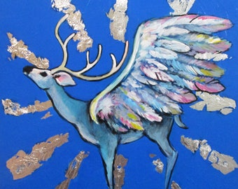 Winged Stag - original painting by Kellie Marian Hill