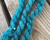 Mini Skeins Mermaid's Curse Teal Sparkle Hand Painted Turquoise Blue Green bluegreen Sock Yarn 28 Yards Superwash Merino Nylon hand dyed