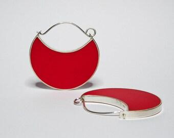 Geometric Big Red Sterling Silver Hoop Earrings
