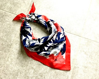 Vintage Red White & Blue Honig Floral Scarf