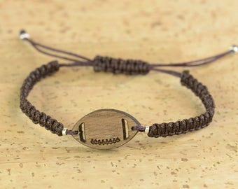 Gift for men.Football Bracelet for men. Mens gift. Mens bracelet. Mens wood bracelet. Anniversary gifts for men.Wood bracelet
