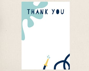 Water Party Thank You Note, PRINTABLE