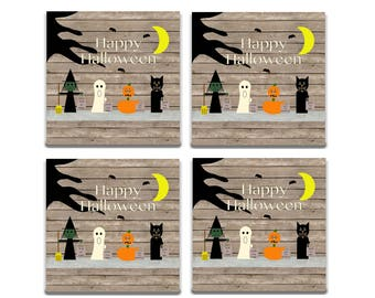 Halloween coasters, trick or treat, Halloween decor, wooden coasters, pumpkin coaster, wooden ghost, black cat, wood witch, rustic halloween
