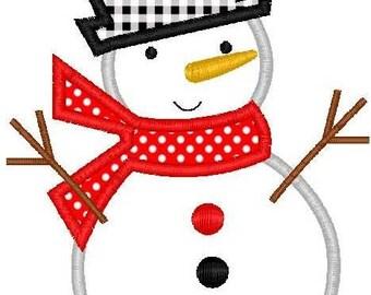 Christmas Snowman Machine Embroidery Applique Design