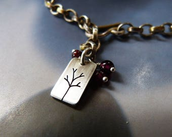 Silver bracelet, Sterling silver chain with garnet and silver tree, rustic gift for mother, anniversary gift, birthday present, 40th 50th