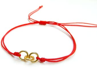 Women Gold Ring Bracelet, Gold Link Bracelet, Red String Bracelet, Kabbalah Bracelet, Stacking Bracelet, Meaningful Gifts, Love Bracelet