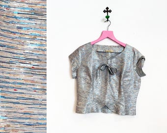 Vintage 1950s-60s Silver and Blue Metallic Short Sleeved Blouse Size M