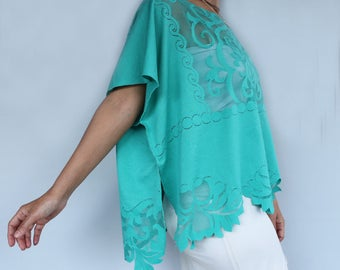 Ocean Green Tunic Blouse, Plus Size Top Wear, Fashion Clothing, Beach Swimsuit Coverup, Plus Size Handmade