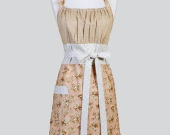 SALE Cute Kitsch Womens Apron , Beige and Peach Floral Old Fashioned Retro Vintage Style Kitchen Cooking Chef Apron with Pockets