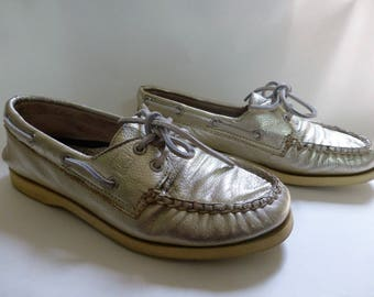 Gold Leather Sperrys Boat Shoes