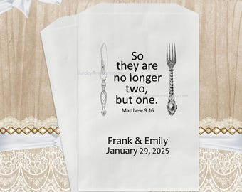 Qty 20 WEDDING Dinner BBQ Utensils Silverware Holder Favor Bag / So They Are No Longer Two But One / Matthew 19:6 / Personalized 3 Day Ship