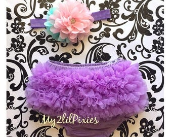 SALE BLOOMER and HEADBAND set- Lavender Chiffon ruffle Bum Baby Bloomer Diaper Cover and Baby Girl Flower headband-  Photo Prop 2 piece set