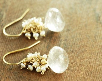 Silver Quartz Pearl Cluster Gemstone Earrings, Gold and Silver Dewdrop Earrings, Handmade Wedding Jewelry