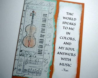 SOUL'S MUSIC ~ Mixed media collage greeting card with keepsake bookmark, quote by Rumi