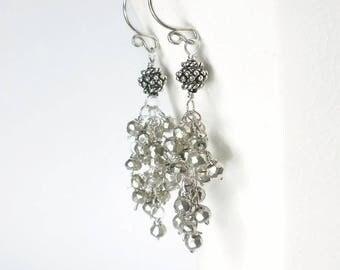 Silver Cluster Earrings Silver Pyrite Earrings Silver Cascade Earrings Sterling Silver