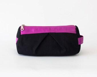 Black Cosmetic bag with pink leather, makeup case accessory bag pencil case zipper pouch zipper case - Estia Bag