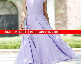 purple dress, chiffon dress, prom dress, wedding dress, bridesmaid dress, fitted and flare dress, maxi dress, summer dress, handmade  (1030)