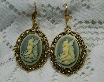 Fairy Earrings, Green and Cream Fairy Cameo Earrings, Faerie Woodland Nymph Faerie, Celtic Fairy Earrings, Gold and Green
