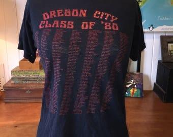 Destroyed Oregon City class of 80 vintge t shirt