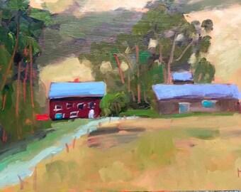BODEGA BAY FARM, 9 x 16 - Sonoma County - California - Landscape - Original - Plein Air Painting - Art - Home Decor - Wall Art - Artwork