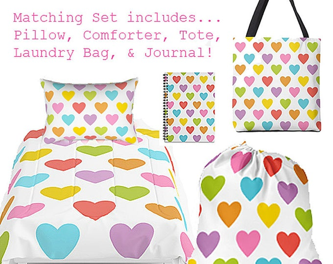 Teen Room Decor, Bed in a Bag, Personalized Bedding, Summer Camp Bag, Matching Bedding, Dorm Decor, Grad Gift, Camp Bedding, 5 piece set