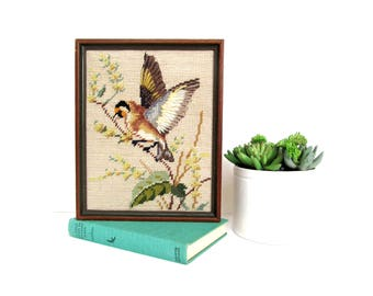 Vintage Needlepoint Bird, Completed and Framed