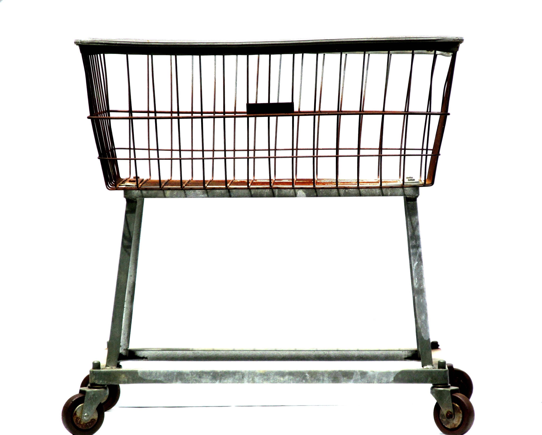 industrial laundry cart metal wire grid basket on wheels. Black Bedroom Furniture Sets. Home Design Ideas