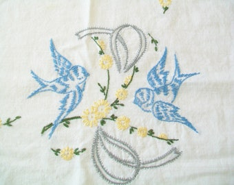 Hand Embroidered Tablecloth, vintage, small, blue birds, kitchen
