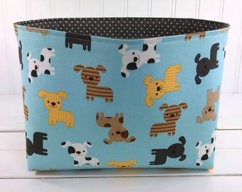 Storage Bin, Organizer Basket, Bin, Nursery Decor, Fabric Basket Bin, Home Decor, Dog, Puppy, Gray, Brown, Aqua Blue